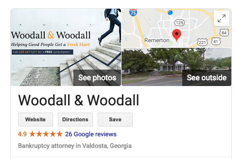 Woodall & Woodall Google listing